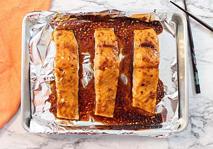 Baked salmon fresh out of the oven.