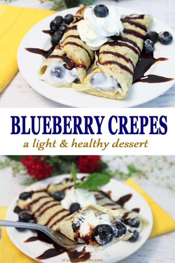 These Healthy Blueberry Crepes are a decadent dessert that you can eat guilt-free! The crepes are a mixture of eggs, flour with an assortment of seeds & grains then filled with blueberries & yogurt. Of course, you just have to drizzle them with chocolate, right?! #recipe #crepes #dessert #healthy #blueberries #glutenfree #yogurt #easy