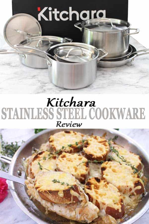 #ad Want to cook like a gourmet chef at home? My Kitchara stainless steel cookware review gives you the details. I love cooking with these quality-built pans. They deliver everything you could want in cookware from high grade stainless steel, to aluminum cores to a comfortable weight. They\'re reasonably priced & built to last. #stainlesssteelcookware #Kitcharacookware #howtocookwithstainlesssteel #cookware #review