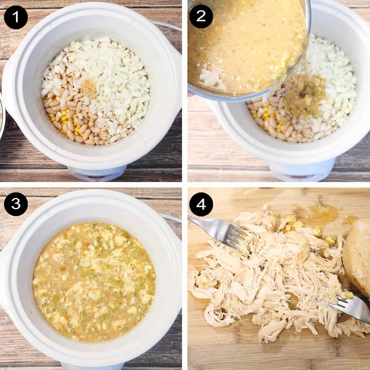 Prep steps 1-4 for crockpot chicken chili.