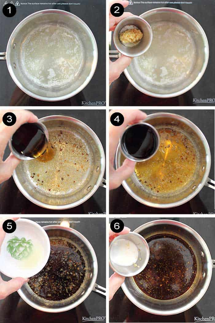 Steps to make maple soy glaze.