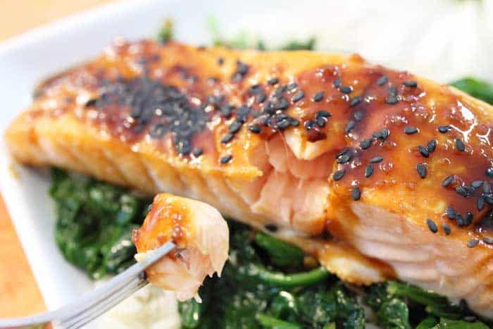 Closeup of baked salmon on bed of spinach with a forkful of flaky fish.