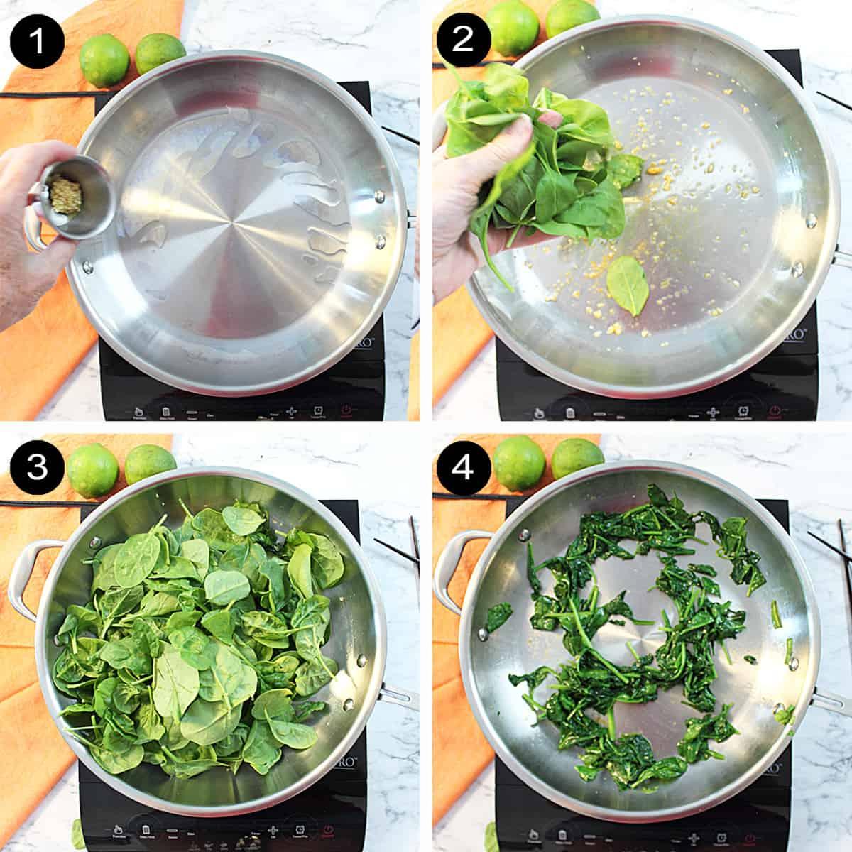 Steps to make garlic spinach.