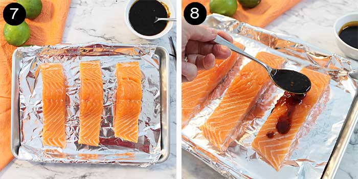 Prepping salmon with maple glaze.