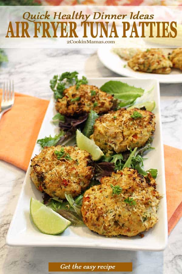 Want a healthy, quick and easy dinner tonight? Air Fryer Tuna Patties can be on your table in about 20 minutes! Just toss canned tuna with veggies, add in panko crumbs and eggs then air fry for 8 minutes. They\'re deliciously soft and flavorful inside with a crunchy and slightly cheesy outside. They can easily be adapted for gluten-free, low carb and paleo diets. #tunafish  #cannedtunafish #airfryer #dinner #easy #recipe #withbreadcrumbs #panko #nomayo #lowcarb #glutenfree #paleo #crispy #healthy