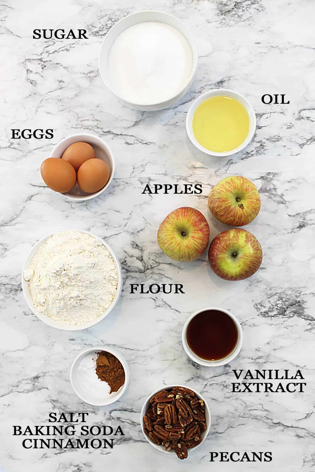 Picture from above of all recipe ingredients.