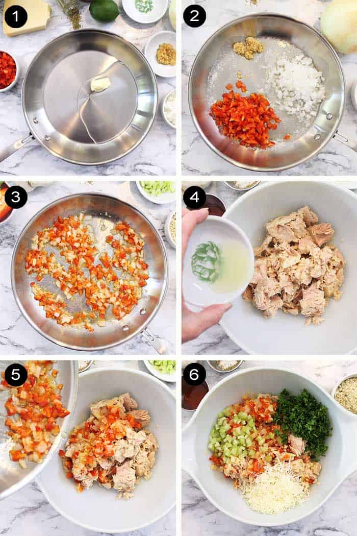 First 6 steps to making tuna patties.