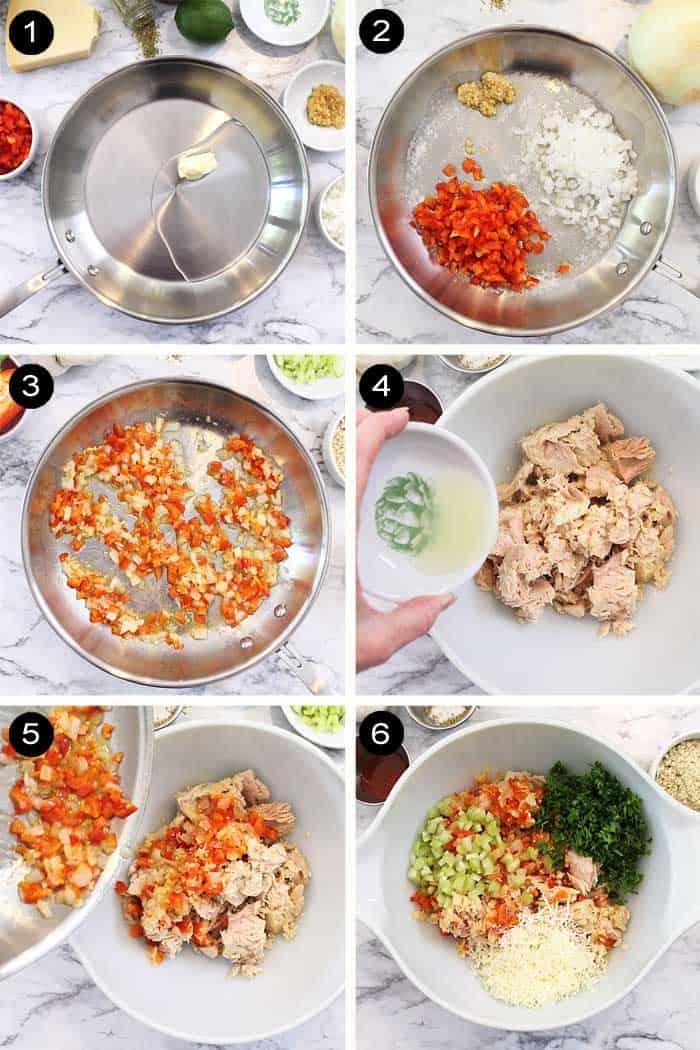First 6 steps to making tuna patties.