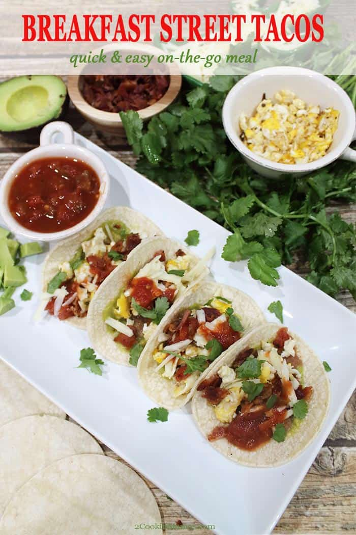Breakfast never tasted so good! Simple and easy, these Breakfast Street Tacos are comprised of small corn tortillas filled with all your morning favorites. Bacon and eggs combine with Mexican ingredients like refried beans, guacamole and cheese to make a quick, filling, low carb breakfast. Great for on-the-go or a fun \