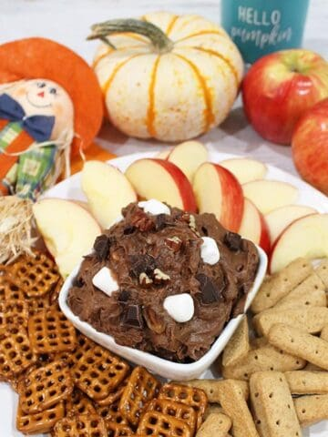 Closeup of dip in white bowl with fall decorations behind it.