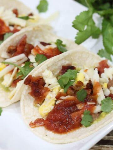 Closeup of tacos plated.