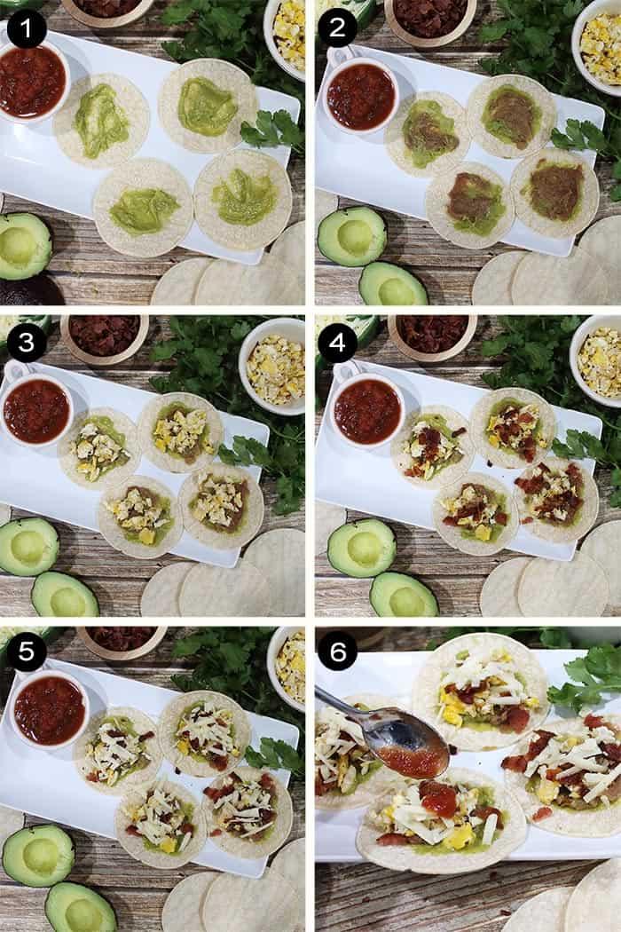 Prep steps to make breakfast tacos.