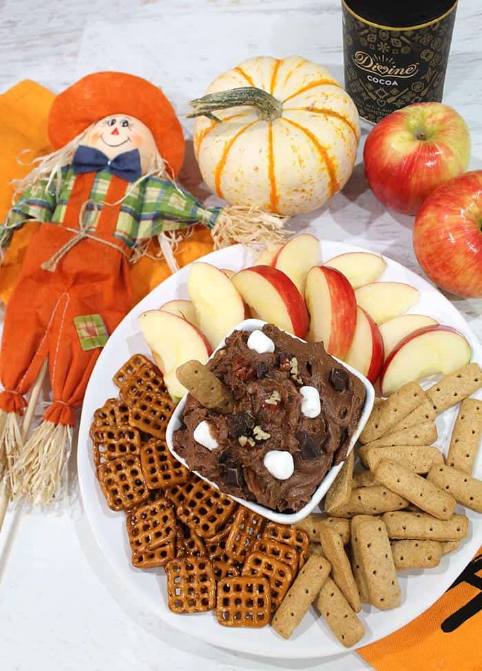 Rocky Road Cookie Dough Dip with dippers and fall decor.