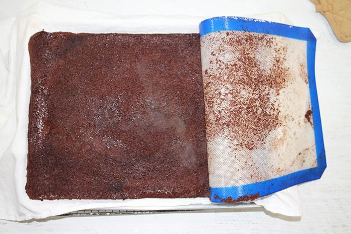 Remove silicone mat or parchment paper from back of cake.
