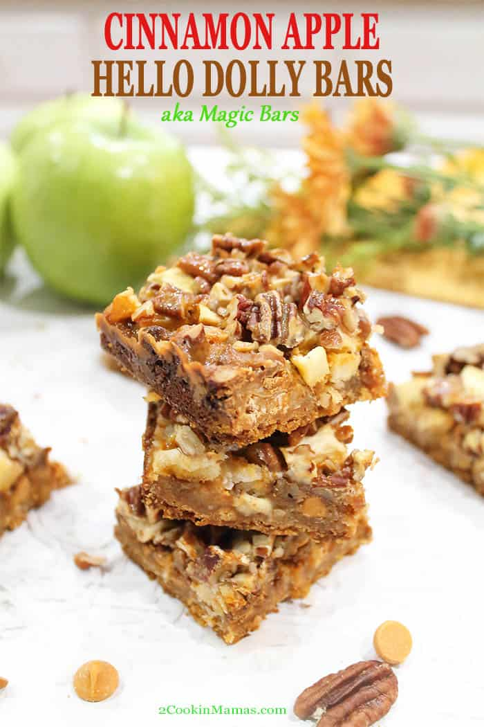 These easy layered Cinnamon Apple Hello Dolly Bars are all about the scrumptiousness of fall rolled into one. They\'re like a cross between pecan pie and caramel apples with a cinnamon twist. A crunchy graham crust is layered with cinnamon and butterscotch chips, apples and pecans then drizzled with sweetened condensed milk for a bite of fall heaven!