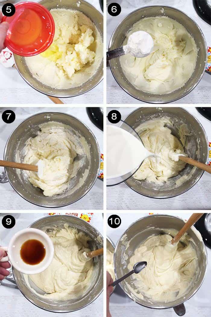 Steps 5-10 for making cake batter.