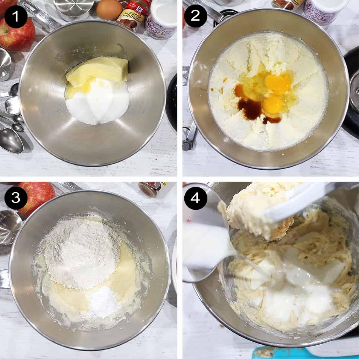 Collage of steps to make bread batter.