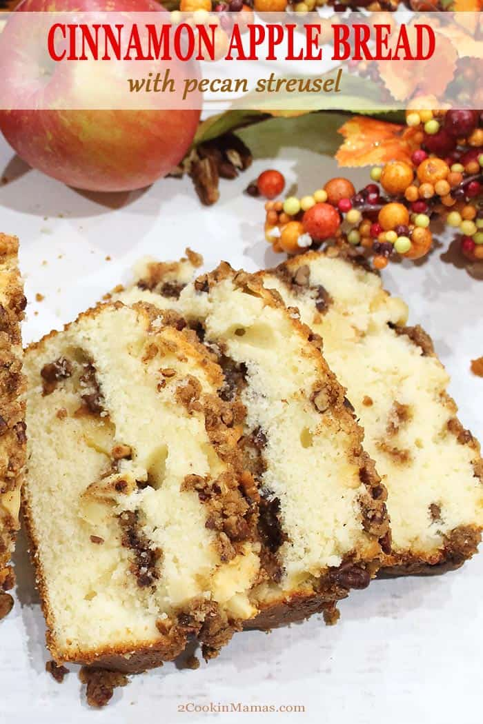 This Cinnamon Apple Bread with Pecan Streusel is an easy to make, soft and moist quick bread. It's  packed with sweet cinnamon apples, crunchy pecans and topped with plenty of crumbs. Make it as a special breakfast treat, dessert or even for holiday hostess gifts. Believe me, it will surely become your new fall family favorite! #bread #easy #recipe #apple #cinnamon #pecans #withcrumbs #fall #breakfast #dessert #baking