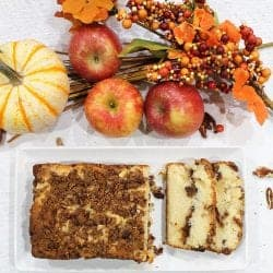 Overhead of sliced apple bread on white plate with fall fruits.