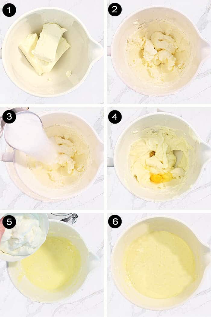 Steps to make new york cheesecake batter.