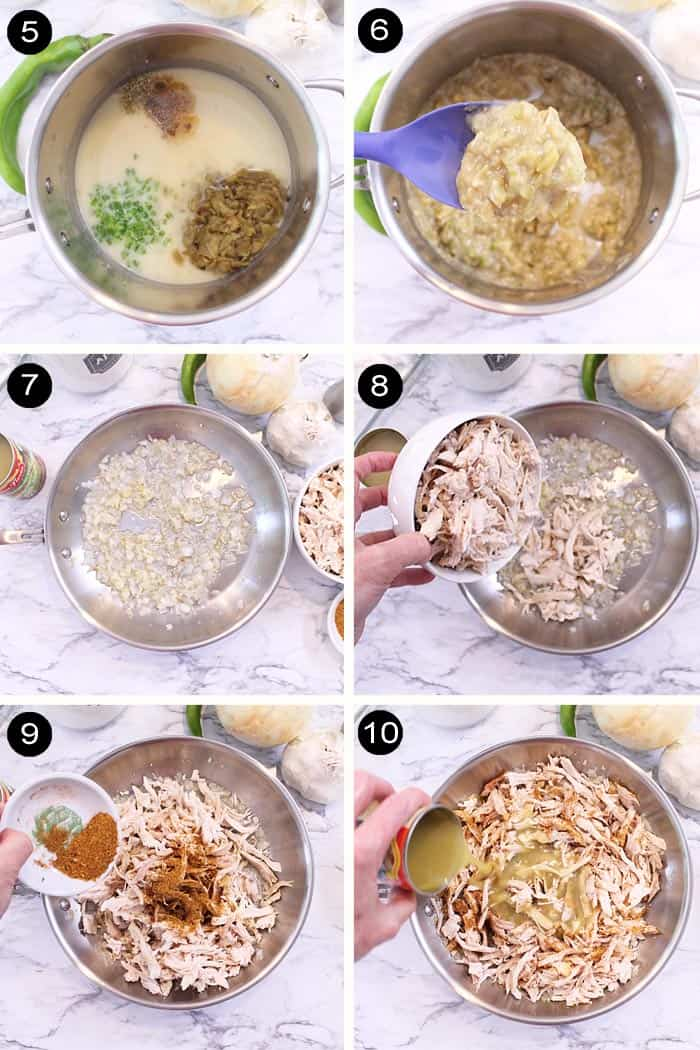 Adding chile sauce to season chicken.