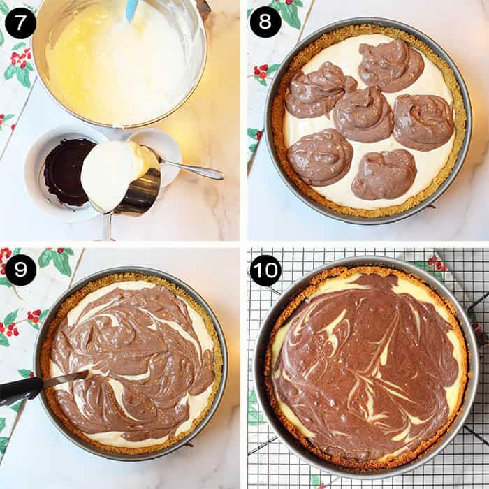 Steps to make chocolate swirl in cheesecake.