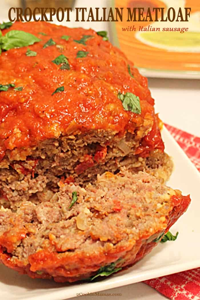 This Crockpot Italian Meatloaf is comfort food at it\'s best! Not only is it full of the flavors of basil, garlic and Parmesan cheese but has a nice kick from Italian sausage. It\'s a moist, full-flavored dinner that takes only 15 minutes of prep then set it and forget it. This dinner is foolproof and the perfect answer to busy weeknights. It will definitely become your new family favorite. #crockpotmeatloaf #crockpotmeatloafrecipe #crockpotmeatloafslowcooker #italianmeatloafincrockpot #crock...