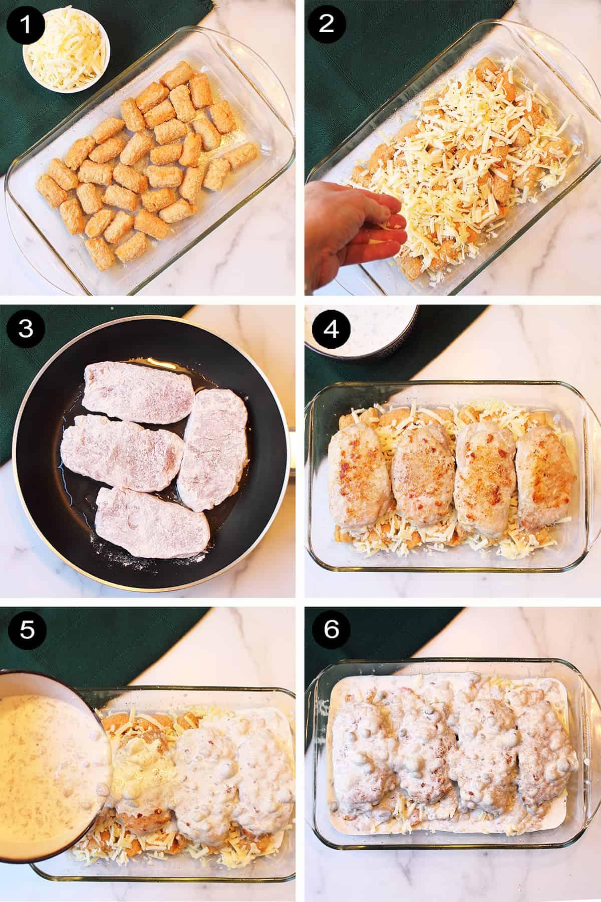 Steps 1-6 for Pork Chop Casserole.