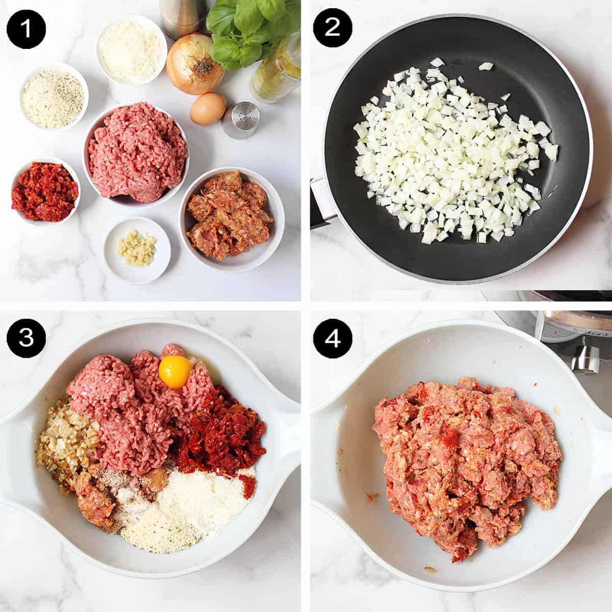 Steps to make Italian meatloaf.