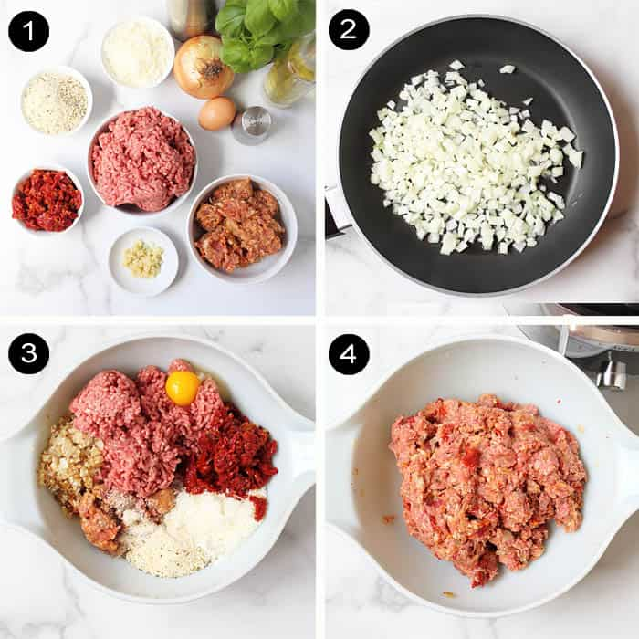 Steps to make Italian meatloaf from ingredients to mixing.