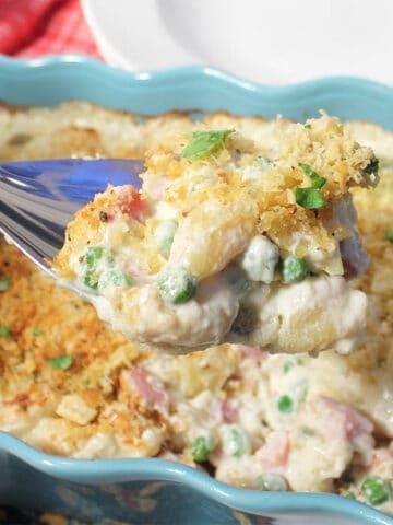 Spoonful of cheesy gnocchi casserole closeup
