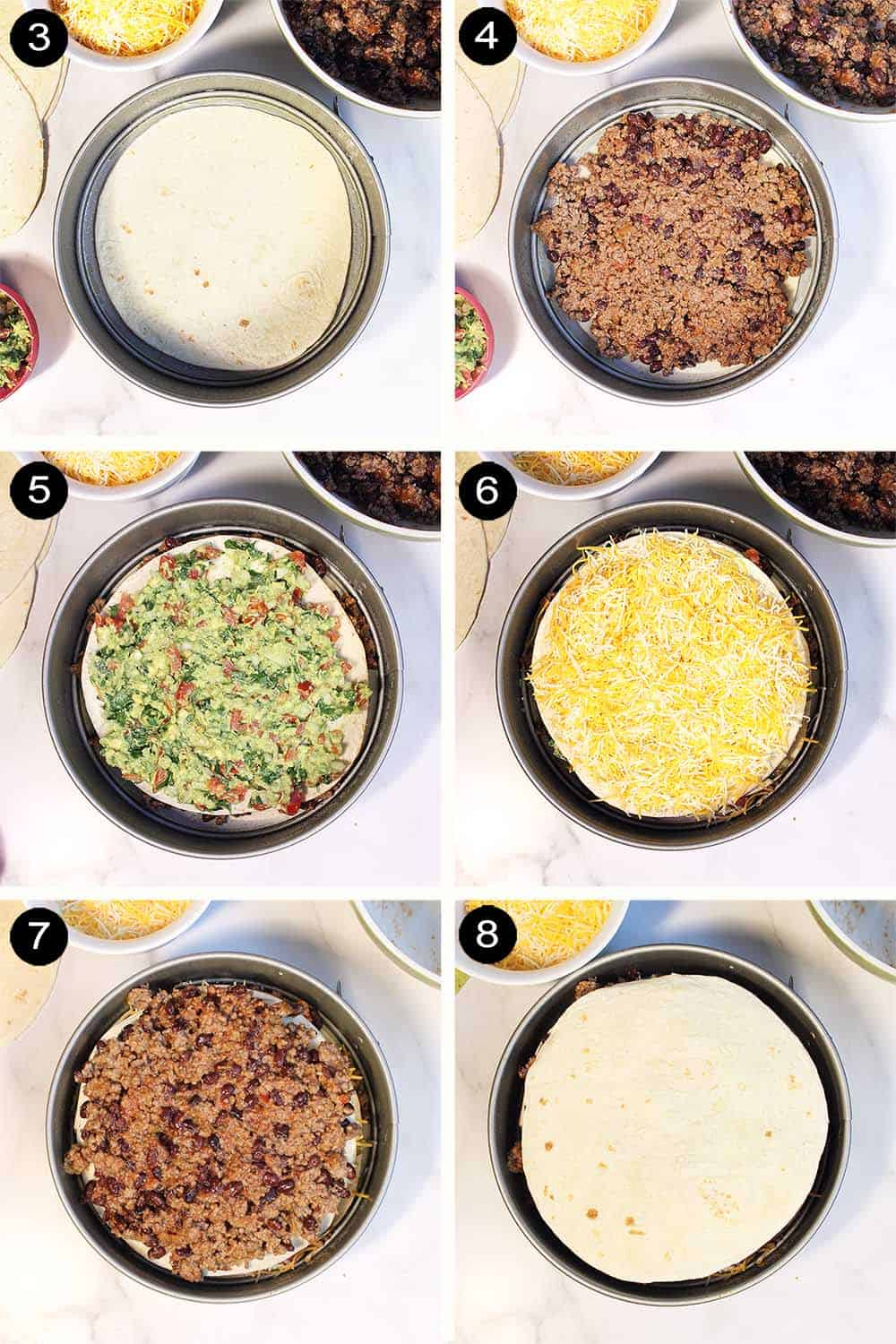 Assembling the tortilla stack in layers of ground beef, guacamole and cheese.