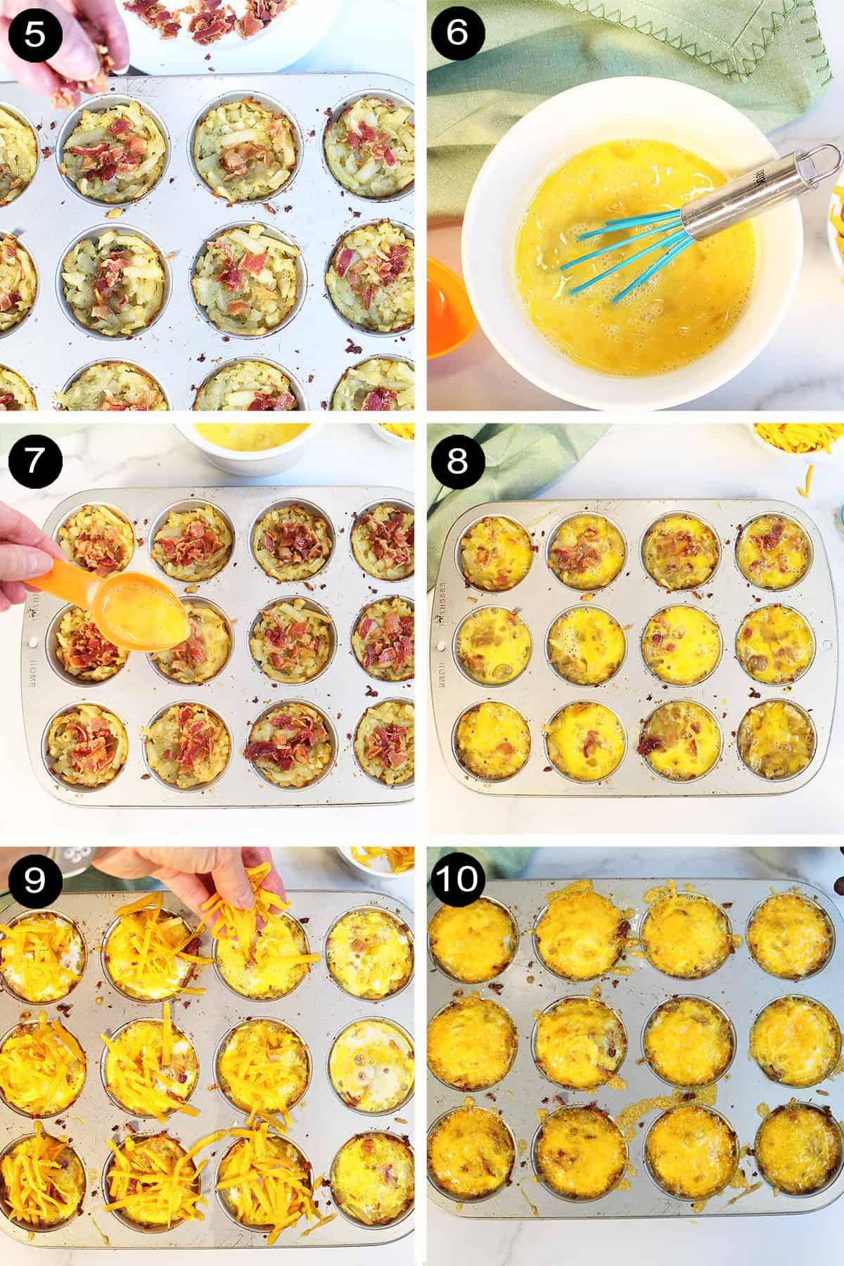 Steps 5-10 assembling muffin tin egg bites.