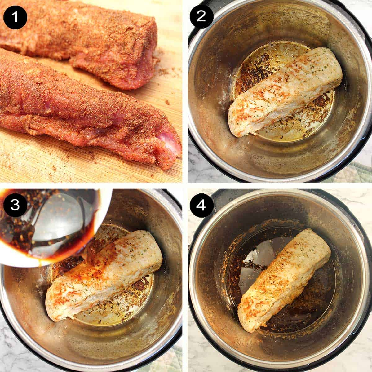 Steps for preparing pork loin.