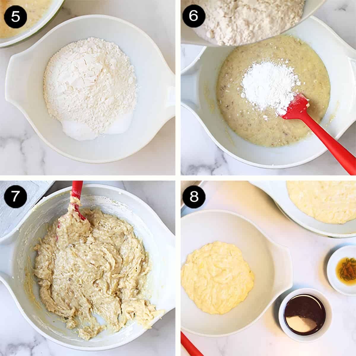Steps 5-8 finishing banana bread batter.