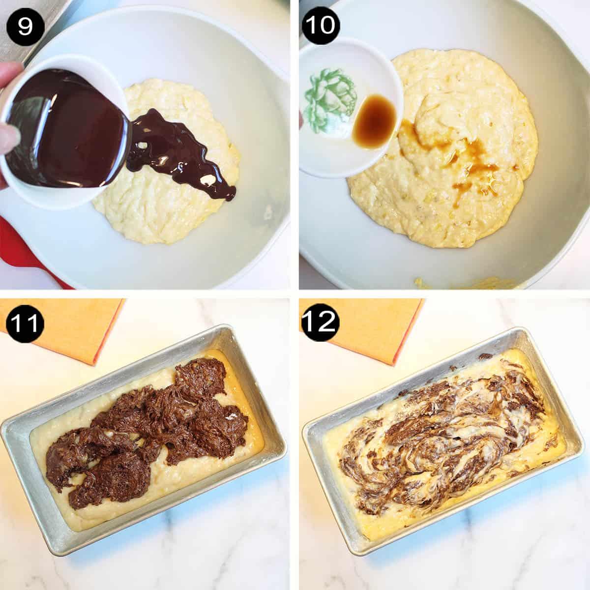 Steps 9-12 marbling banana bread.