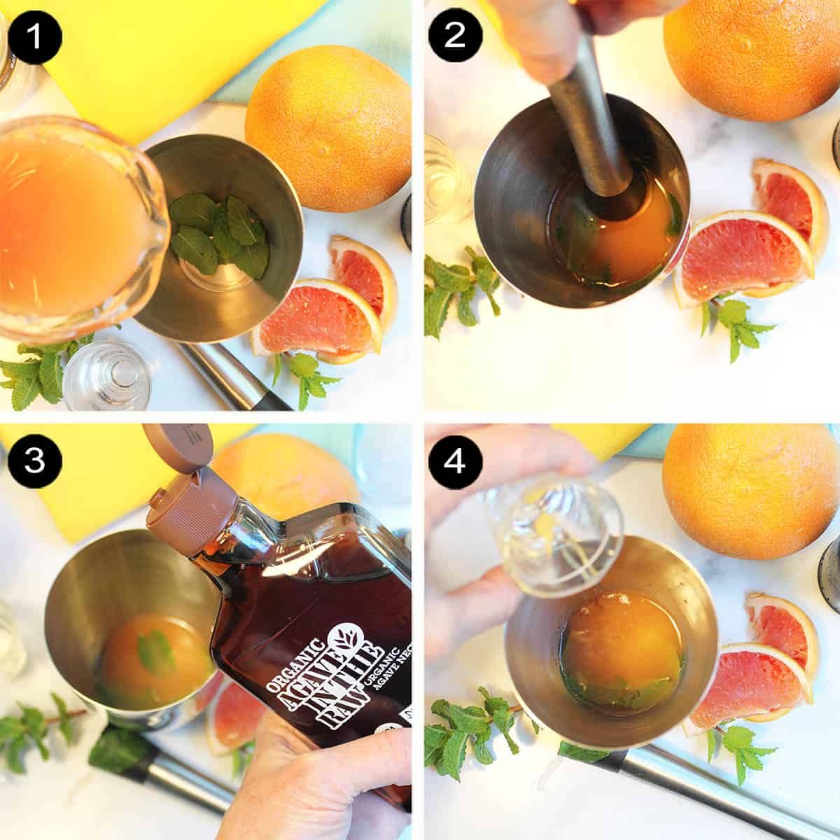 Prep steps 1-4 to make cocktail