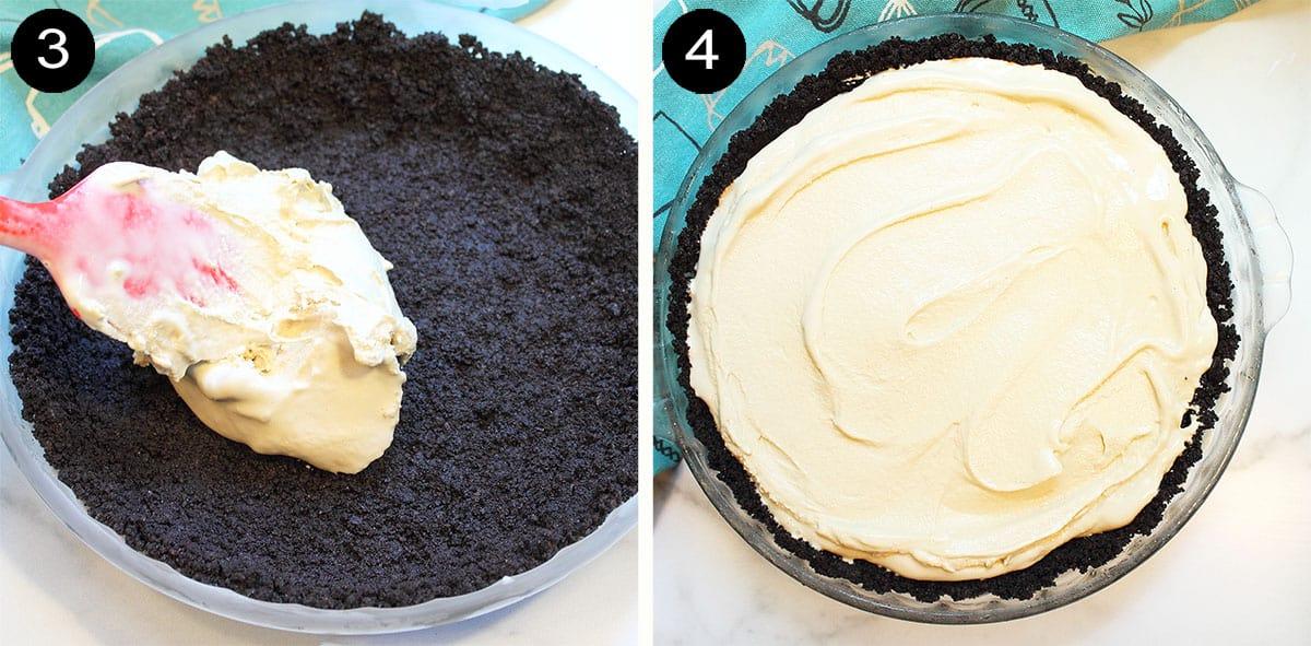 Making ice cream layer of pie.