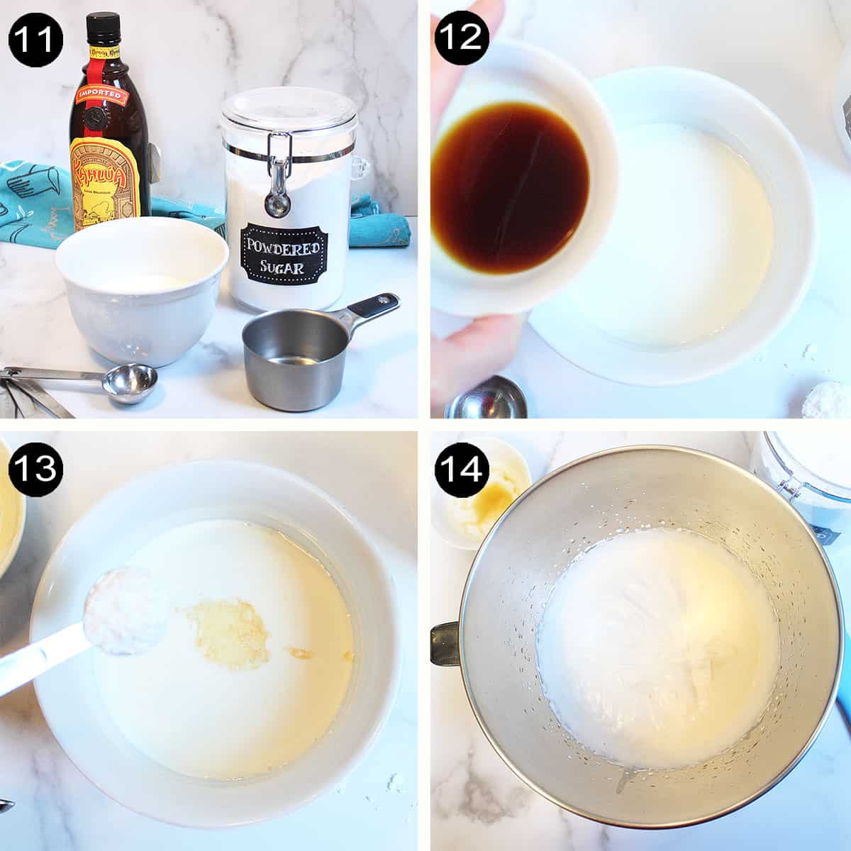Steps to make kahlua whipped cream topping.