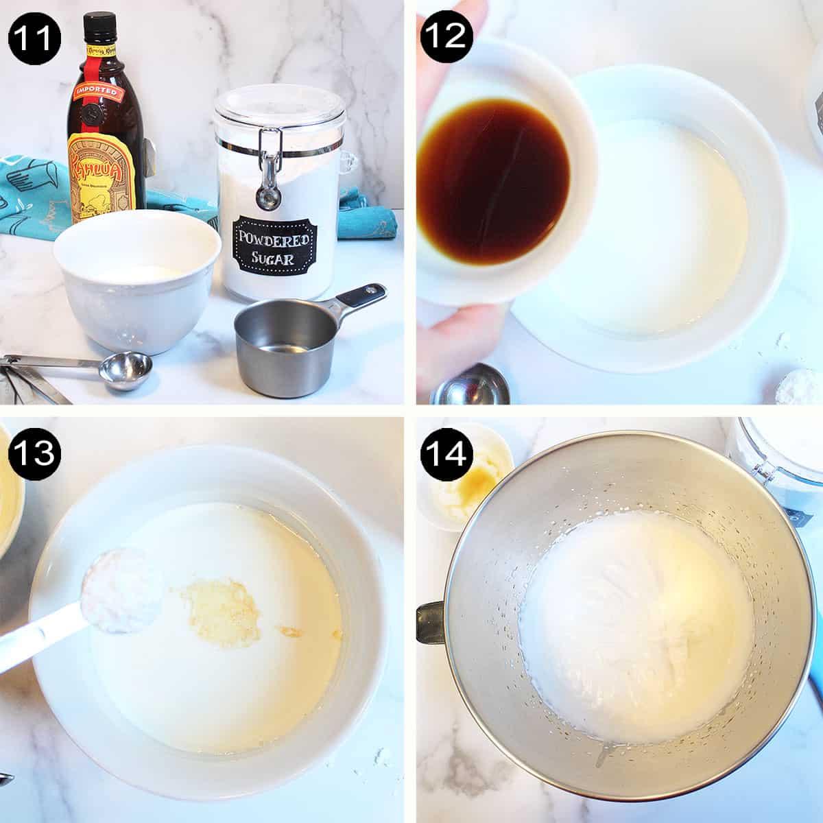 Steps to make kahlua whipped cream topping.