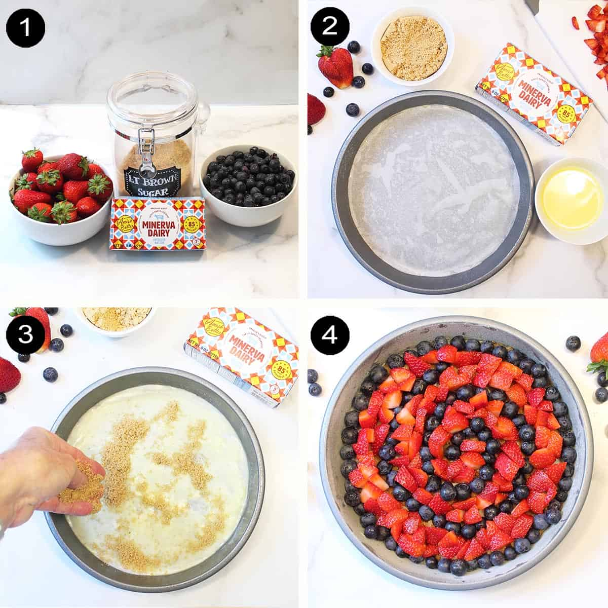 Steps to make fruit topping.