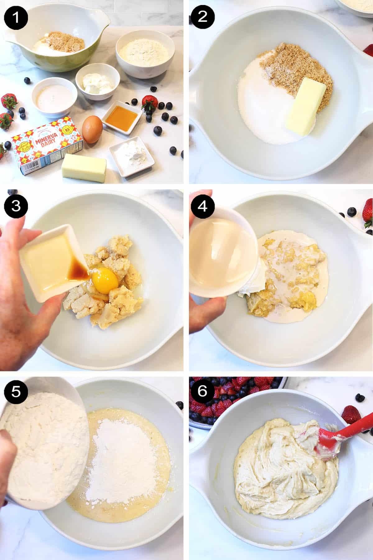 Steps to make upside down cake batter.