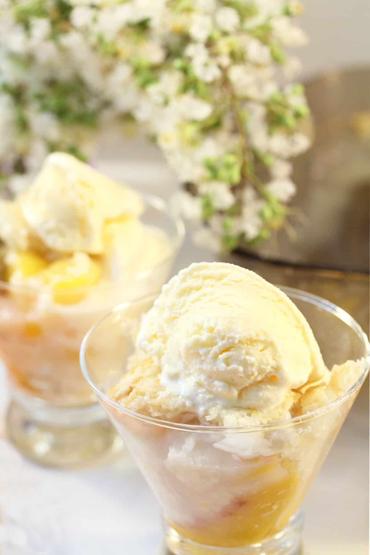 2 servings of cobbler in glass dishes with ice cream on top and flowers in back.