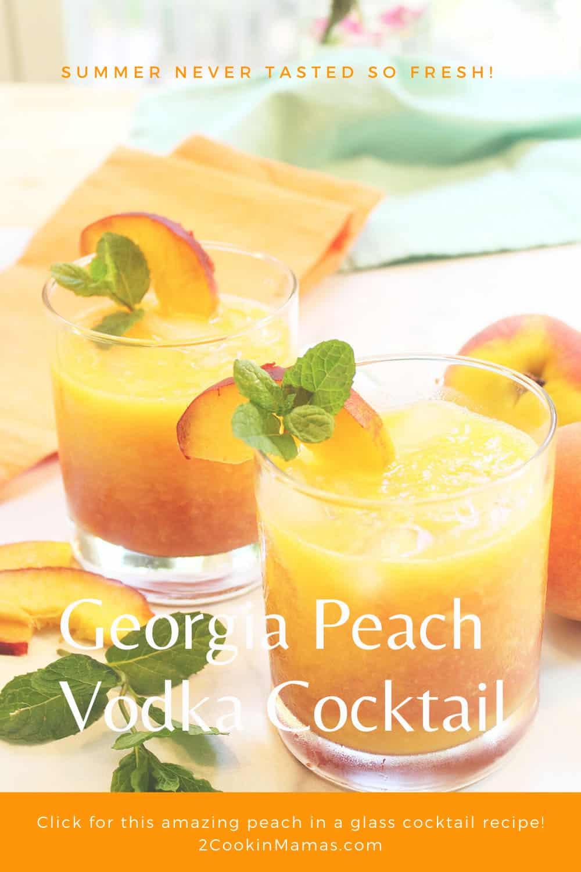 Fresh Georgia Peach Vodka Cocktail