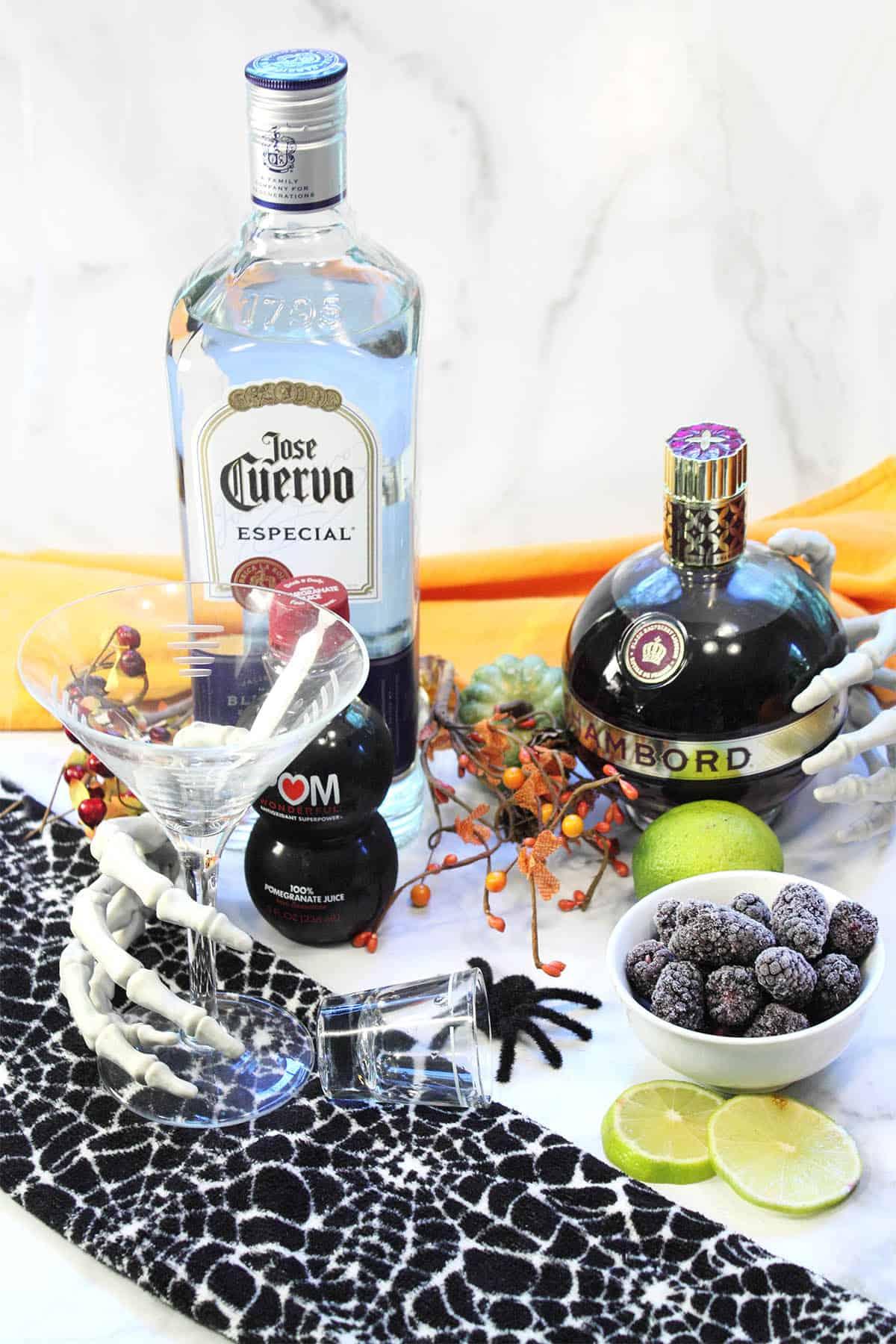 Ingredients for blackberry margarita cocktail.