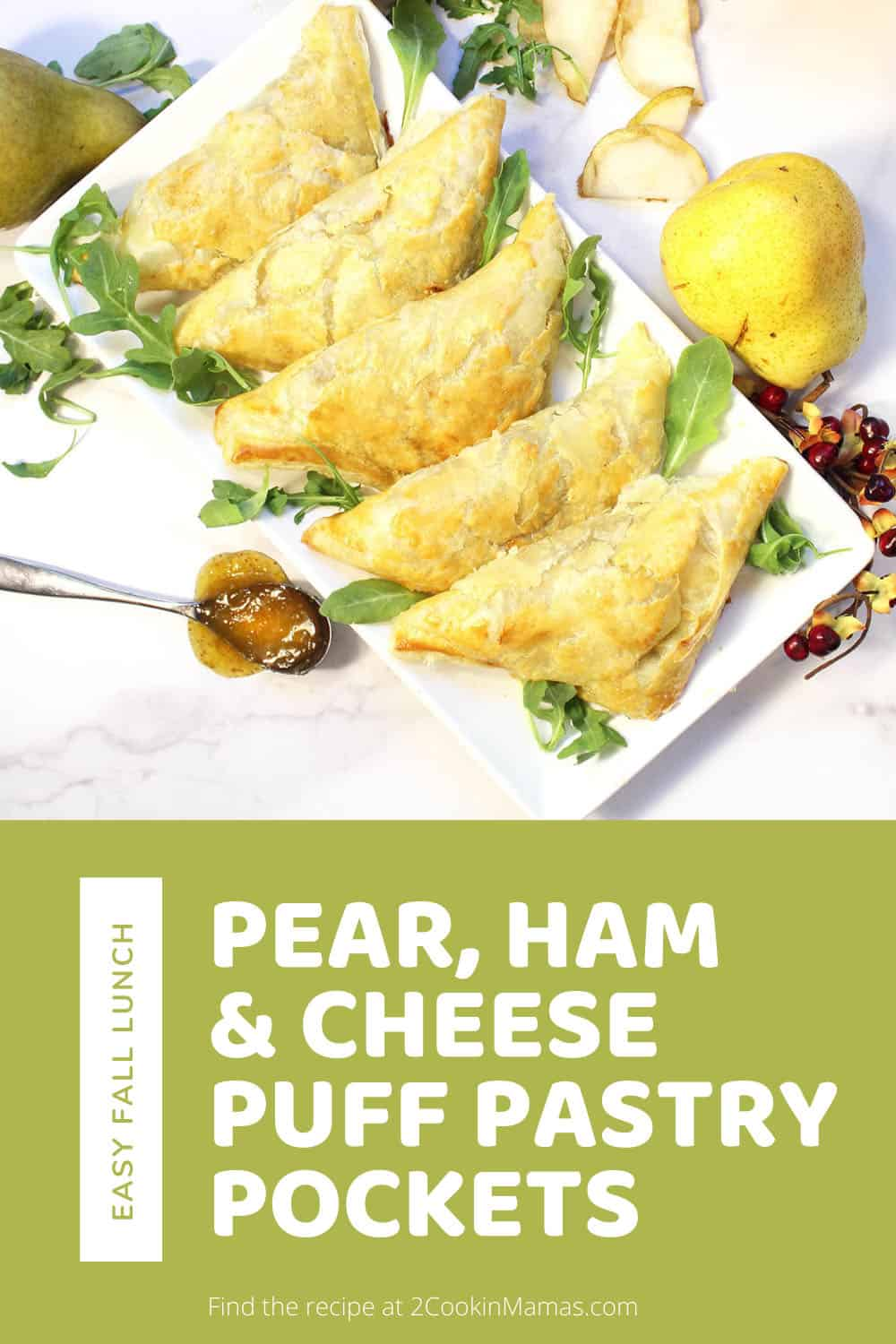 Pear Ham and Cheese Puff Pastry Pockets