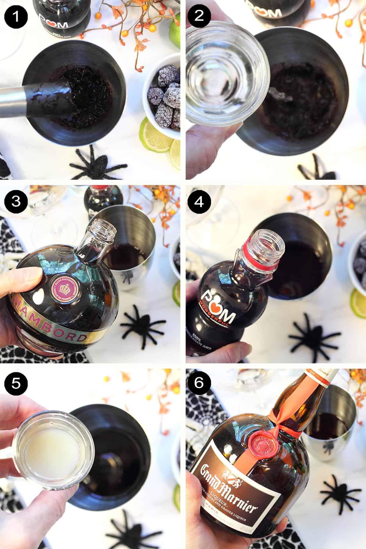 Prep steps to make Blackberry Margarita.