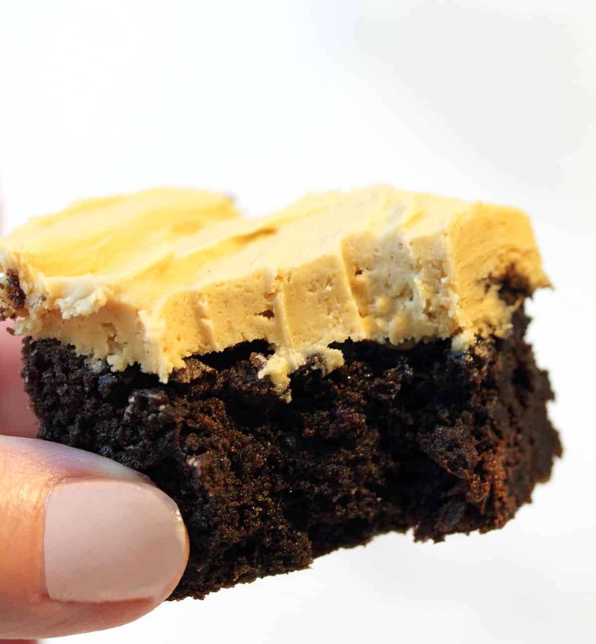 Bite of brownie with peanut butter frosting.
