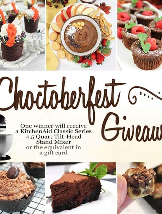 Photo of 6 chocolate dishes with text overlay for #Choctoberfest and giveaway.