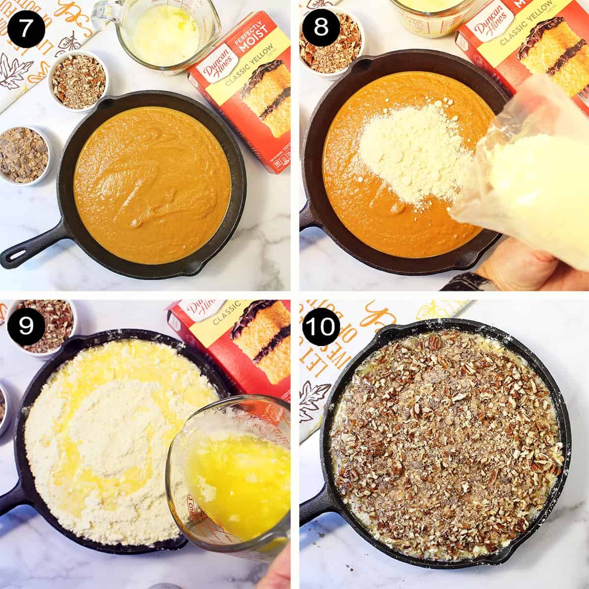 Steps to make cake and topping layers.